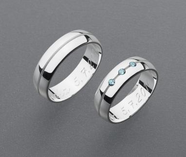 stříbrné snubní prsteny vzor Z45